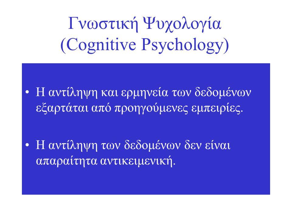 Γνωστική Ψυχολογία (Cognitive Psychology) Η αντίληψη και ερμηνεία των δεδομένων εξαρτάται από προηγούμενες εμπειρίες.