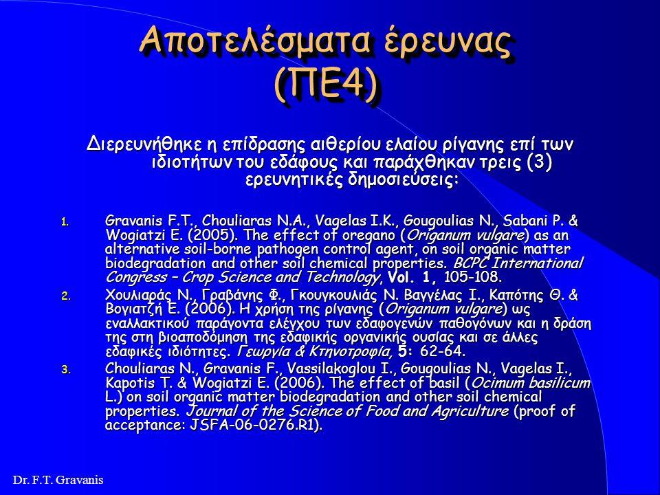 Dr. F.T. Gravanis Αποτελέσματα έρευνας (ΠΕ3) Έγιναν αρκετές ερευνητικές προσπάθειες εντοπισμού και απομόνωσης του βακτηρίου Pasteuria penetrans, που ό