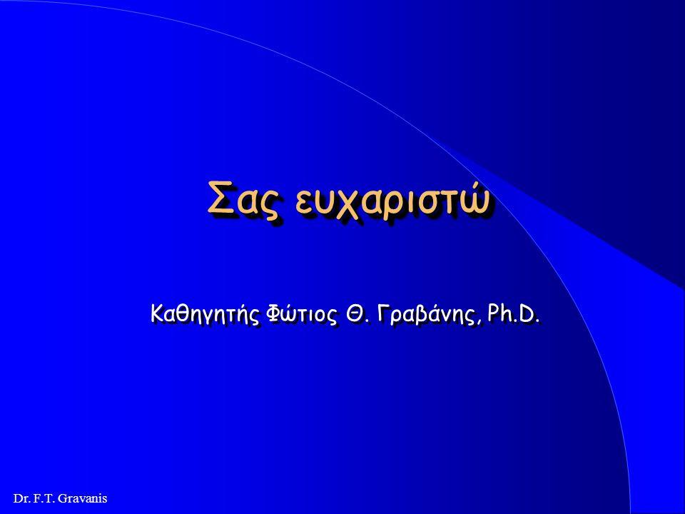 Dr. F.T. Gravanis Αποτελέσματα έρευνας l Άμεσα αποτελέσματα: Δέκα έξι (16) δημοσιεύσεις Δέκα (10) πτυχιακές εργασίες l Έμμεσα (πολλαπλασιαστικά) αποτε