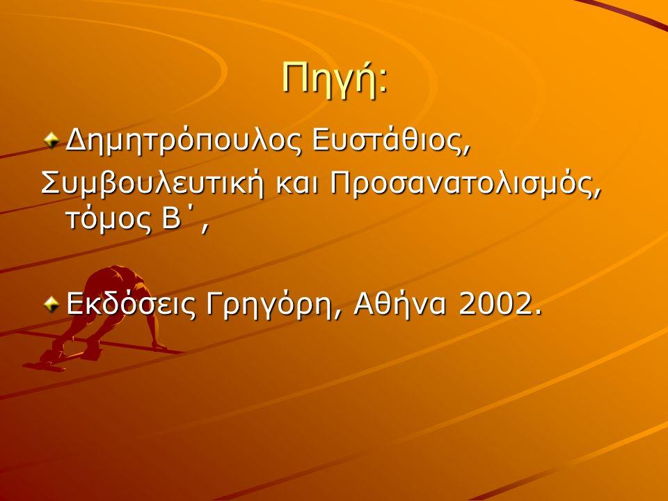 Πηγή: Δημητρόπουλος Ευστάθιος, Συμβουλευτική και Προσανατολισμός, τόμος Β΄, Εκδόσεις Γρηγόρη, Αθήνα 2002.