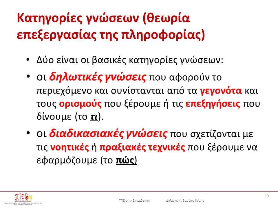 ΤΠΕ στην Εκπαίδευση Διδάσκων : Βασίλης Κόμης Κατηγορίες γνώσεων (θεωρία επεξεργασίας της πληροφορίας) Δύο είναι οι βασικές κατηγορίες γνώσεων: οι δηλωτικές γνώσεις που αφορούν το περιεχόμενο και συνίστανται από τα γεγονότα και τους ορισμούς που ξέρουμε ή τις επεξηγήσεις που δίνουμε (το τι).