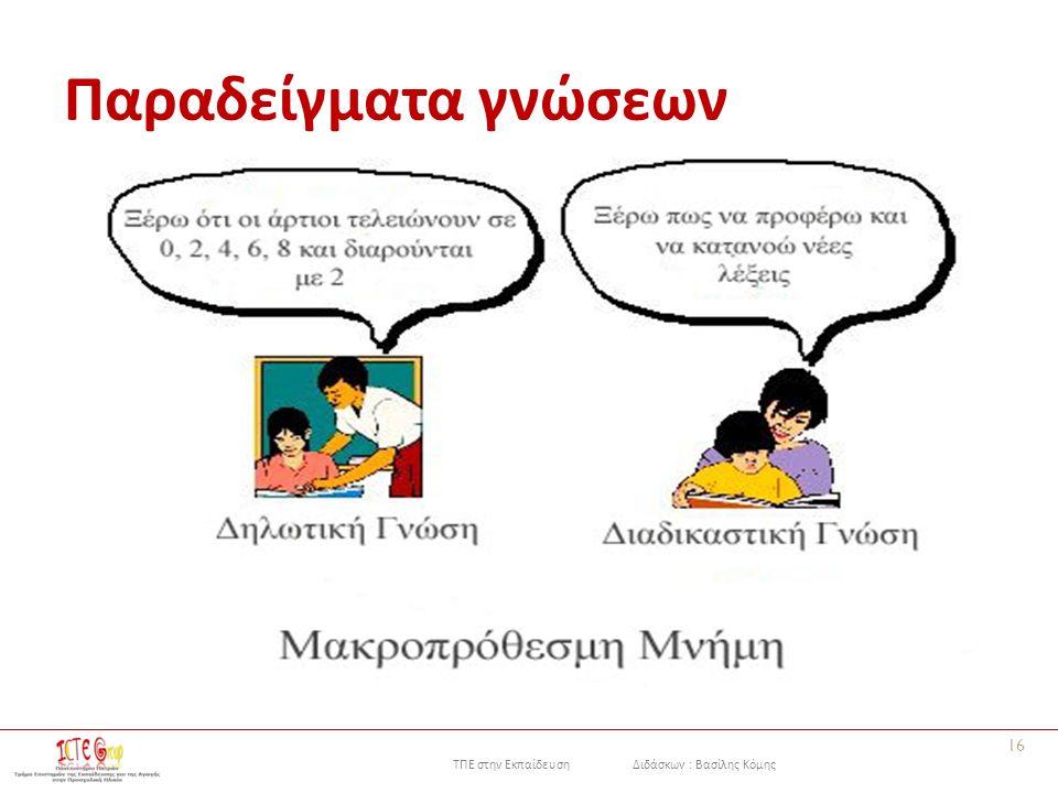 ΤΠΕ στην Εκπαίδευση Διδάσκων : Βασίλης Κόμης Παραδείγματα γνώσεων 16