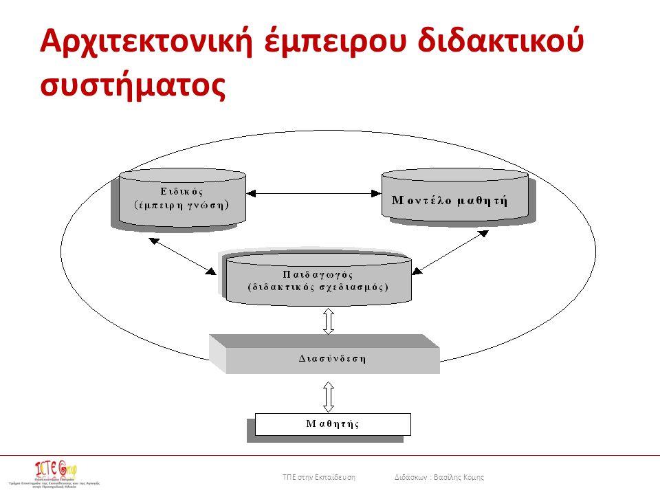 ΤΠΕ στην Εκπαίδευση Διδάσκων : Βασίλης Κόμης Αρχιτεκτονική έμπειρου διδακτικού συστήματος