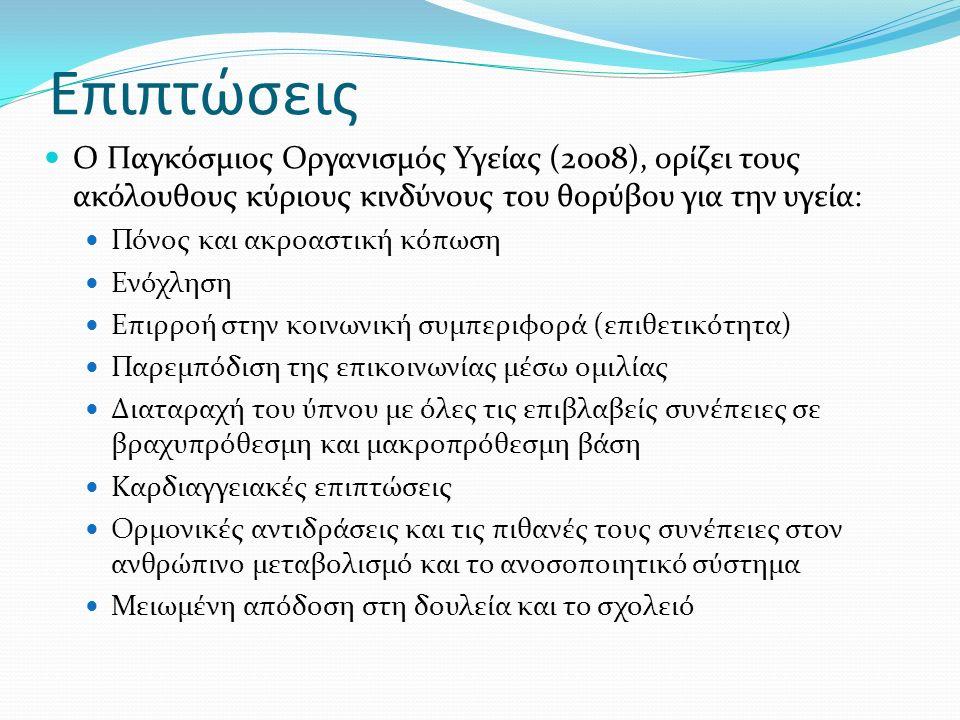 Ο Παγκόσμιος Οργανισμός Υγείας (2008), ορίζει τους ακόλουθους κύριους κινδύνους του θορύβου για την υγεία: Πόνος και ακροαστική κόπωση Ενόχληση Επιρροή στην κοινωνική συμπεριφορά (επιθετικότητα) Παρεμπόδιση της επικοινωνίας μέσω ομιλίας Διαταραχή του ύπνου με όλες τις επιβλαβείς συνέπειες σε βραχυπρόθεσμη και μακροπρόθεσμη βάση Καρδιαγγειακές επιπτώσεις Ορμονικές αντιδράσεις και τις πιθανές τους συνέπειες στον ανθρώπινο μεταβολισμό και το ανοσοποιητικό σύστημα Μειωμένη απόδοση στη δουλεία και το σχολειό Επιπτώσεις