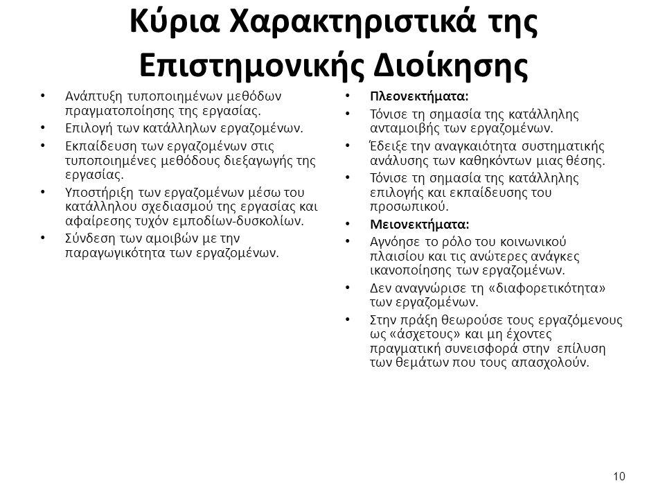 10 Κύρια Χαρακτηριστικά της Επιστημονικής Διοίκησης Ανάπτυξη τυποποιημένων μεθόδων πραγματοποίησης της εργασίας.