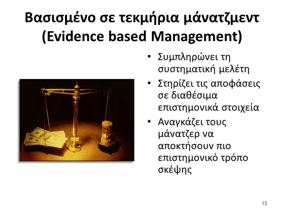 15 Βασισμένο σε τεκμήρια μάνατζμεντ (Evidence based Management) Συμπληρώνει τη συστηματική μελέτη Στηρίζει τις αποφάσεις σε διαθέσιμα επιστημονικά στοιχεία Αναγκάζει τους μάνατζερ να αποκτήσουν πιο επιστημονικό τρόπο σκέψης