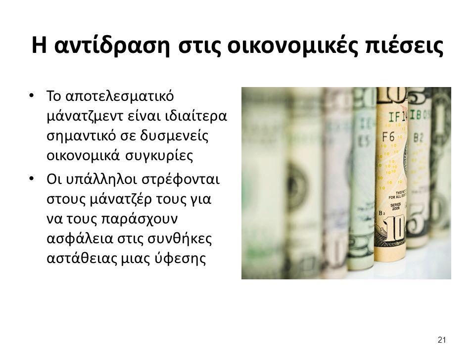 21 Η αντίδραση στις οικονομικές πιέσεις Το αποτελεσματικό μάνατζμεντ είναι ιδιαίτερα σημαντικό σε δυσμενείς οικονομικά συγκυρίες Οι υπάλληλοι στρέφονται στους μάνατζέρ τους για να τους παράσχουν ασφάλεια στις συνθήκες αστάθειας μιας ύφεσης