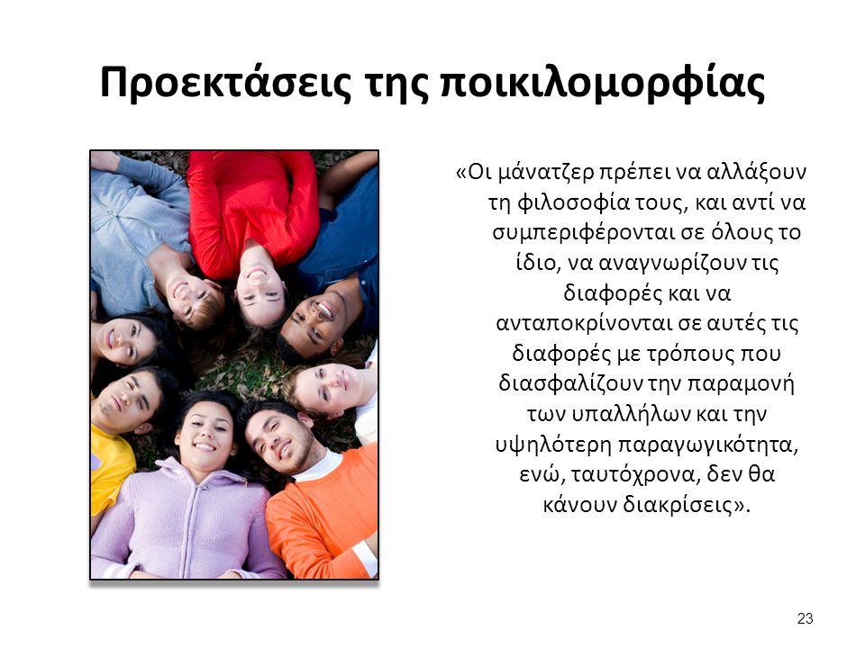 23 Προεκτάσεις της ποικιλομορφίας «Οι μάνατζερ πρέπει να αλλάξουν τη φιλοσοφία τους, και αντί να συμπεριφέρονται σε όλους το ίδιο, να αναγνωρίζουν τις διαφορές και να ανταποκρίνονται σε αυτές τις διαφορές με τρόπους που διασφαλίζουν την παραμονή των υπαλλήλων και την υψηλότερη παραγωγικότητα, ενώ, ταυτόχρονα, δεν θα κάνουν διακρίσεις».