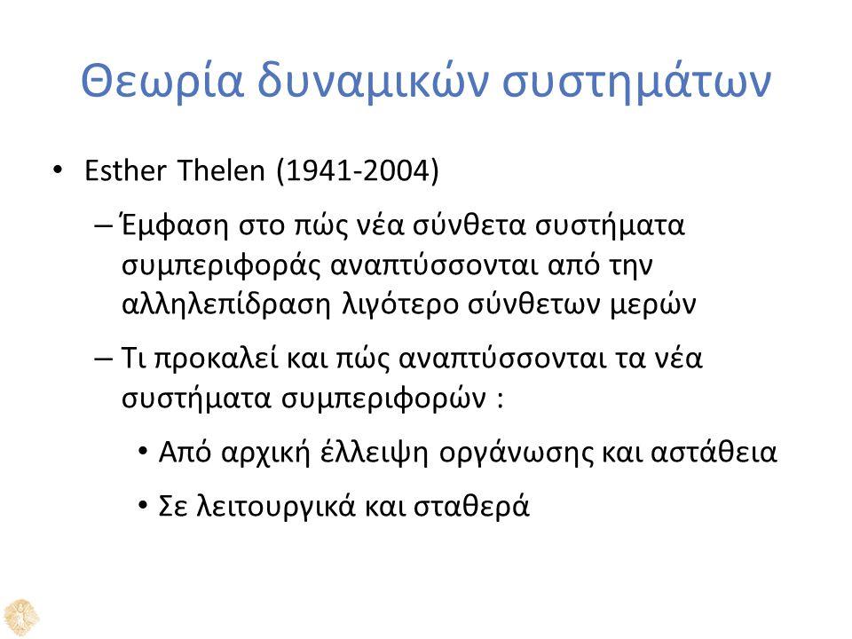 Θεωρία δυναμικών συστημάτων Esther Thelen (1941-2004) – Έμφαση στο πώς νέα σύνθετα συστήματα συμπεριφοράς αναπτύσσονται από την αλληλεπίδραση λιγότερο σύνθετων μερών – Τι προκαλεί και πώς αναπτύσσονται τα νέα συστήματα συμπεριφορών : Από αρχική έλλειψη οργάνωσης και αστάθεια Σε λειτουργικά και σταθερά