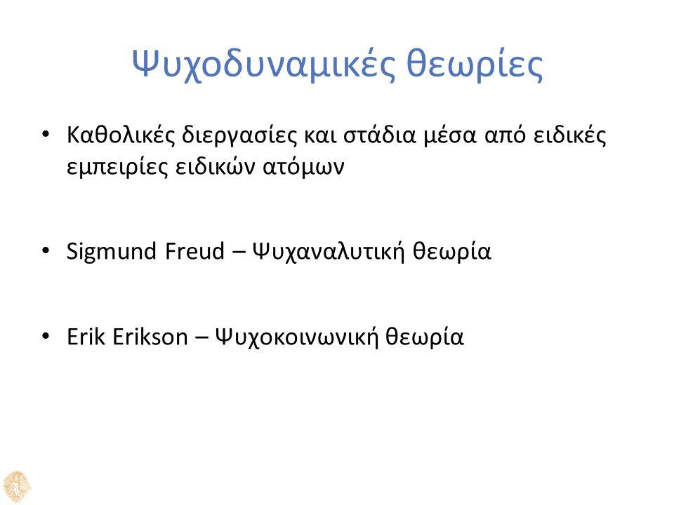 Ψυχοδυναμικές θεωρίες Καθολικές διεργασίες και στάδια μέσα από ειδικές εμπειρίες ειδικών ατόμων Sigmund Freud – Ψυχαναλυτική θεωρία Erik Erikson – Ψυχοκοινωνική θεωρία