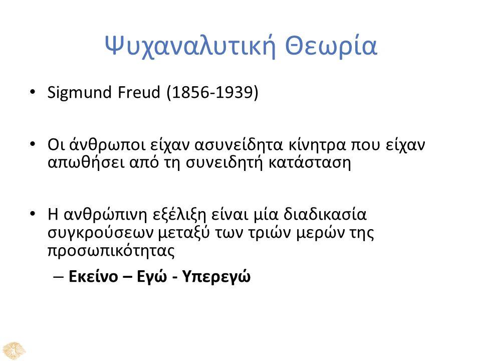 Ψυχαναλυτική Θεωρία Sigmund Freud (1856-1939) Οι άνθρωποι είχαν ασυνείδητα κίνητρα που είχαν απωθήσει από τη συνειδητή κατάσταση Η ανθρώπινη εξέλιξη είναι μία διαδικασία συγκρούσεων μεταξύ των τριών μερών της προσωπικότητας – Εκείνο – Εγώ - Υπερεγώ