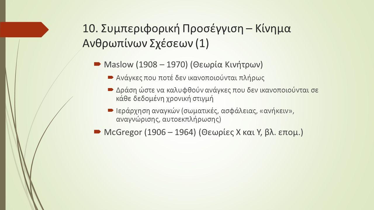 10. Συμπεριφορική Προσέγγιση – Κίνημα Ανθρωπίνων Σχέσεων (1)  Maslow (1908 – 1970) (Θεωρία Κινήτρων)  Ανάγκες που ποτέ δεν ικανοποιούνται πλήρως  Δ