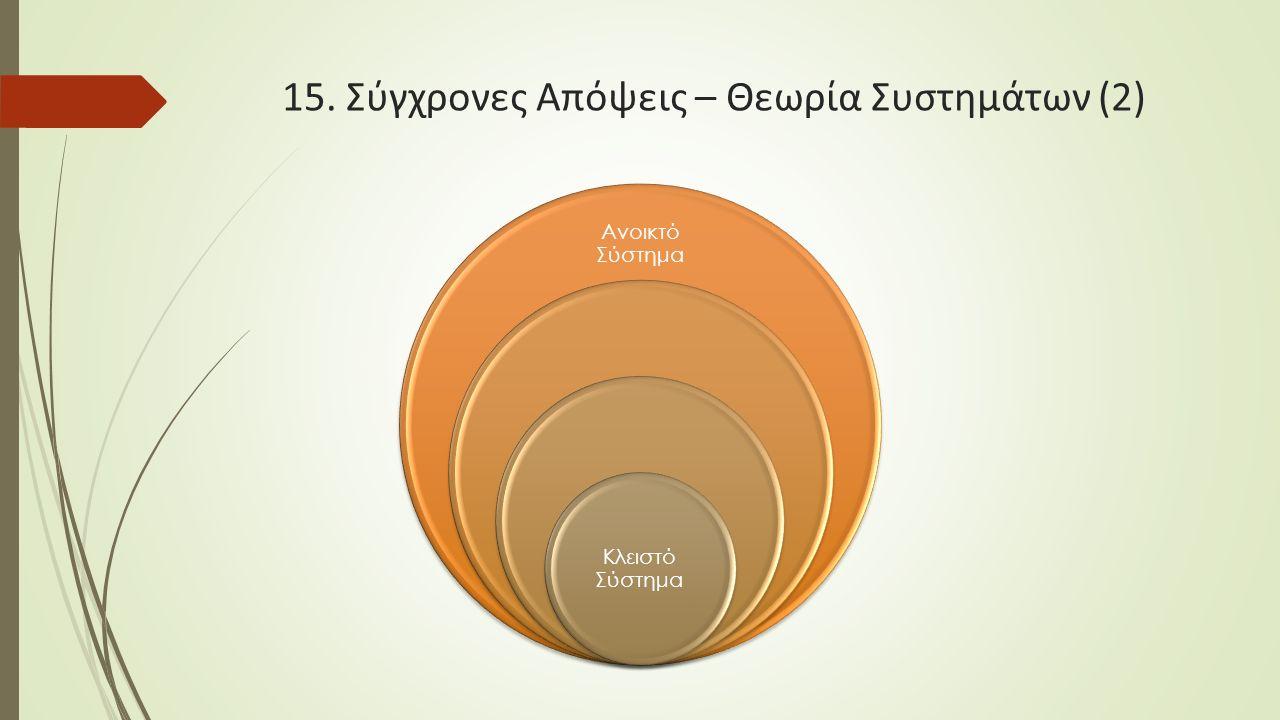 15. Σύγχρονες Απόψεις – Θεωρία Συστημάτων (2) Ανοικτό Σύστημα Κλειστό Σύστημα
