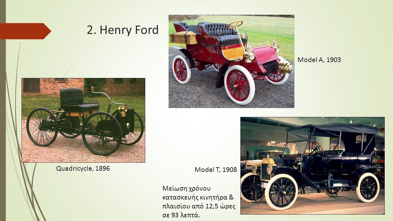 2. Henry Ford Quadricycle, 1896 Model A, 1903 Model T, 1908 Μείωση χρόνου κατασκευής κινητήρα & πλαισίου από 12,5 ώρες σε 93 λεπτά.