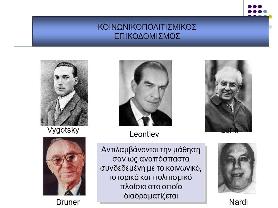 ΚΟΙΝΩΝΙΚΟΠΟΛΙΤΙΣΜΙΚΟΣ ΕΠΙΚΟΔΟΜΙΣΜΟΣ Vygotsky Leontiev Luria NardiBruner Αντιλαμβάνονται την μάθηση σαν ως αναπόσπαστα συνδεδεμένη με το κοινωνικό, ιστορικό και πολιτισμικό πλαίσιο στο οποίο διαδραματίζεται