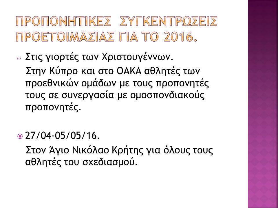 o Στις γιορτές των Χριστουγέννων. Στην Κύπρο και στο ΟΑΚΑ αθλητές των προεθνικών ομάδων με τους προπονητές τους σε συνεργασία με ομοσπονδιακούς προπον