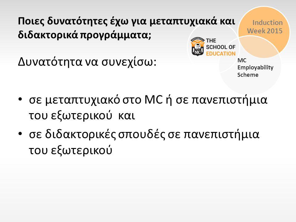 Induction Week 2015 MC Employability Scheme Ποιες δυνατότητες έχω για μεταπτυχιακά και διδακτορικά προγράμματα; Δυνατότητα να συνεχίσω: σε μεταπτυχιακ