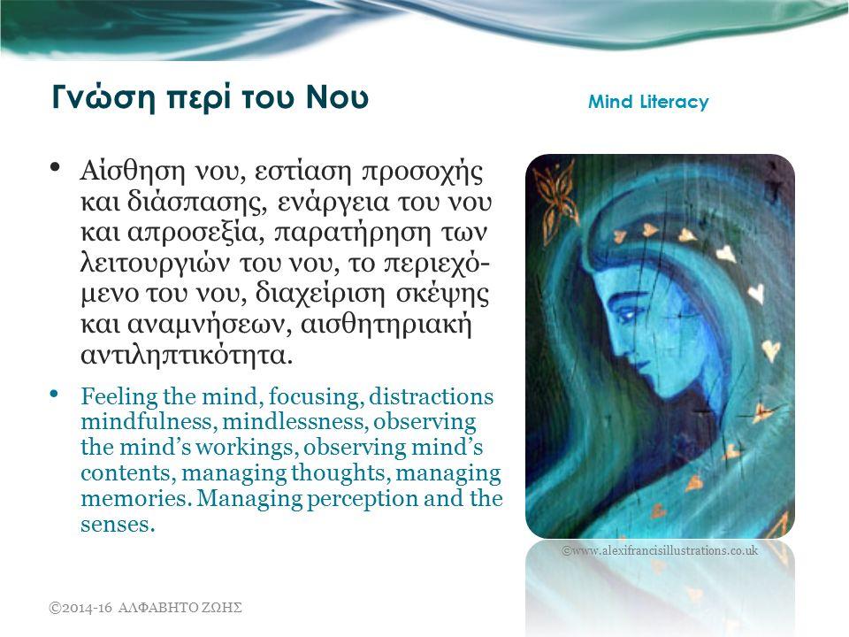 Γνώση περί του Νου Mind Literacy Αίσθηση νου, εστίαση προσοχής και διάσπασης, ενάργεια του νου και απροσεξία, παρατήρηση των λειτουργιών του νου, το περιεχό- μενο του νου, διαχείριση σκέψης και αναμνήσεων, αισθητηριακή αντιληπτικότητα.