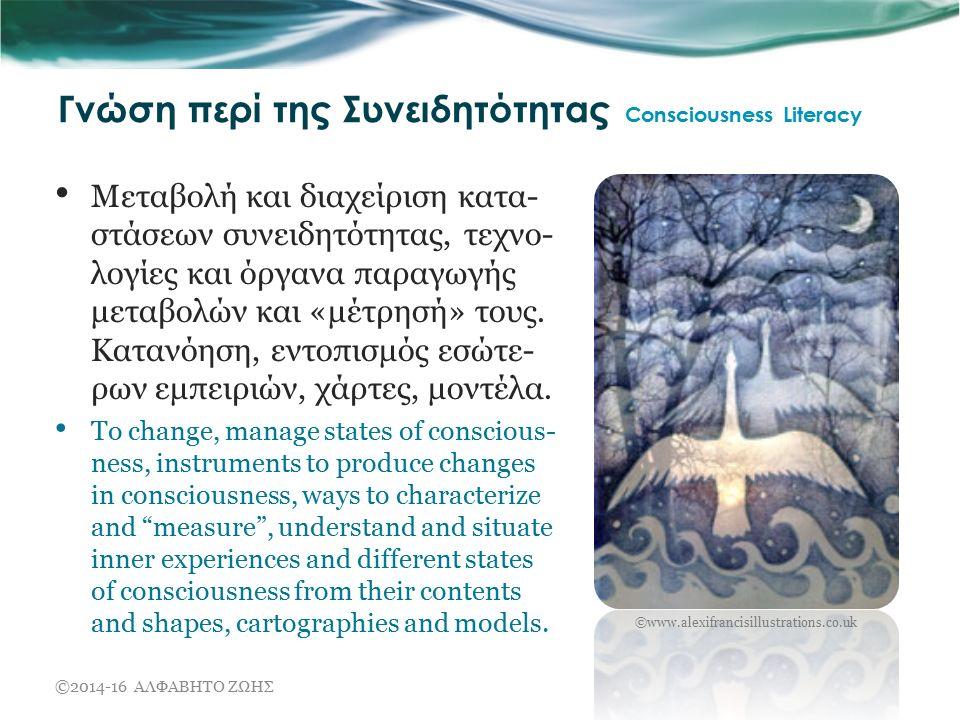 Γνώση περί της Συνειδητότητας Consciousness Literacy Μεταβολή και διαχείριση κατα- στάσεων συνειδητότητας, τεχνο- λογίες και όργανα παραγωγής μεταβολών και «μέτρησή» τους.