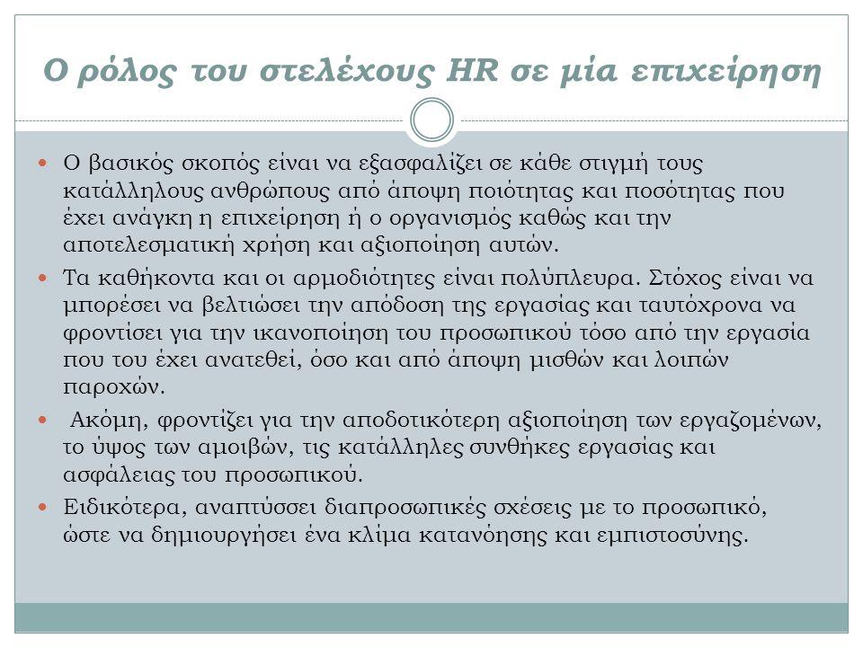 Ο ρόλος του στελέχους HR σε μία επιχείρηση Ο βασικός σκοπός είναι να εξασφαλίζει σε κάθε στιγμή τους κατάλληλους ανθρώπους από άποψη ποιότητας και ποσότητας που έχει ανάγκη η επιχείρηση ή ο οργανισμός καθώς και την αποτελεσματική χρήση και αξιοποίηση αυτών.