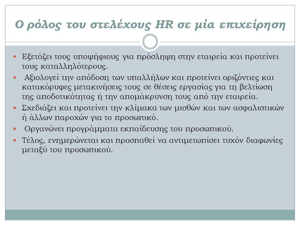 Ο ρόλος του στελέχους HR σε μία επιχείρηση Εξετάζει τους υποψήφιους για πρόσληψη στην εταιρεία και προτείνει τους καταλληλότερους.