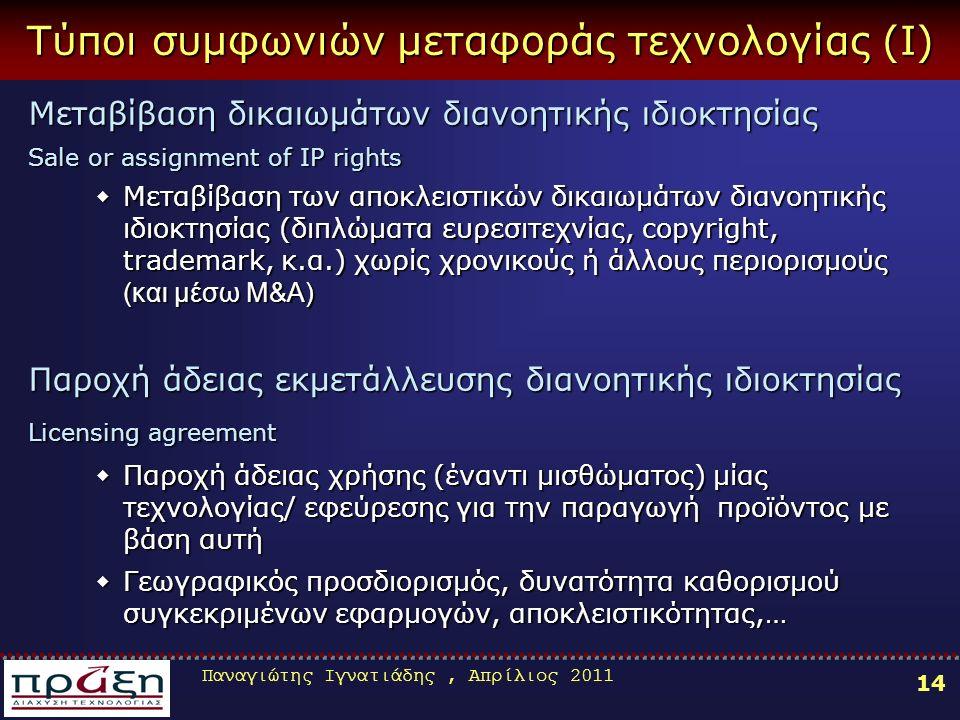 Παναγιώτης Ιγνατιάδης, Απρίλιος 2011 14 Τύποι συμφωνιών μεταφοράς τεχνολογίας (Ι) Μεταβίβαση δικαιωμάτων διανοητικής ιδιοκτησίας Sale or assignment of
