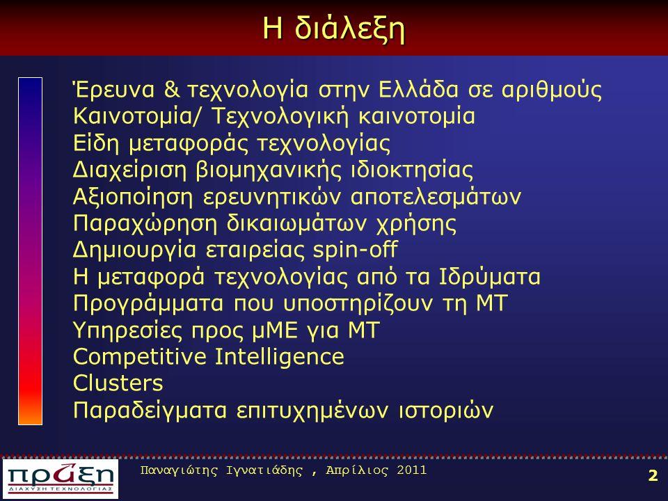Παναγιώτης Ιγνατιάδης, Απρίλιος 2011 2 Η διάλεξη Έρευνα & τεχνολογία στην Ελλάδα σε αριθμούς Καινοτομία/ Τεχνολογική καινοτομία Είδη μεταφοράς τεχνολογίας Διαχείριση βιομηχανικής ιδιοκτησίας Αξιοποίηση ερευνητικών αποτελεσμάτων Παραχώρηση δικαιωμάτων χρήσης Δημιουργία εταιρείας spin-off Η μεταφορά τεχνολογίας από τα Ιδρύματα Προγράμματα που υποστηρίζουν τη ΜΤ Υπηρεσίες προς μΜΕ για ΜΤ Competitive Intelligence Clusters Παραδείγματα επιτυχημένων ιστοριών