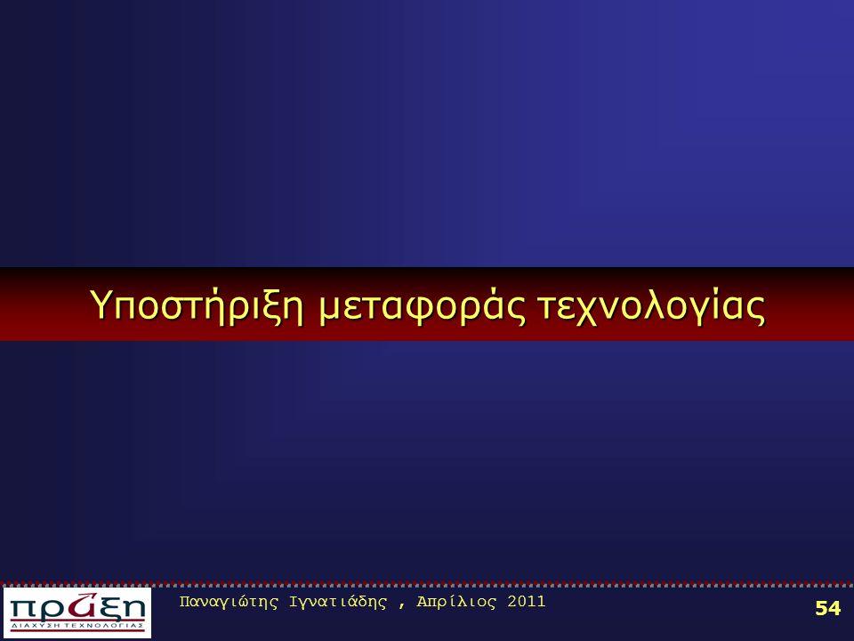 Παναγιώτης Ιγνατιάδης, Απρίλιος 2011 54 Υποστήριξη μεταφοράς τεχνολογίας