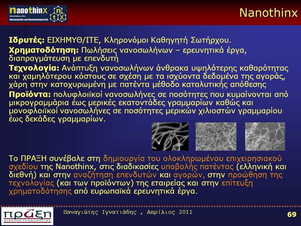 Παναγιώτης Ιγνατιάδης, Απρίλιος 2011 69 Nanothinx Ιδρυτές: ΕΙΧΗΜΥΘ/ΙΤΕ, Κληρονόμοι Καθηγητή Σωτήρχου.