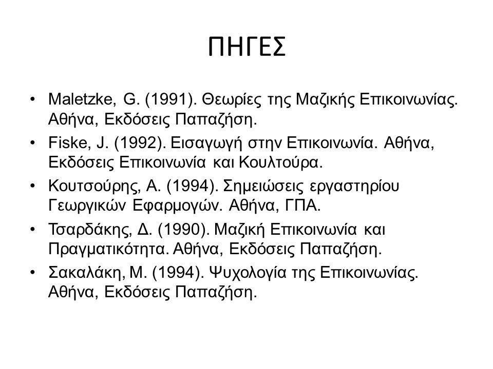 ΠΗΓΕΣ Maletzke, G. (1991). Θεωρίες της Μαζικής Επικοινωνίας.