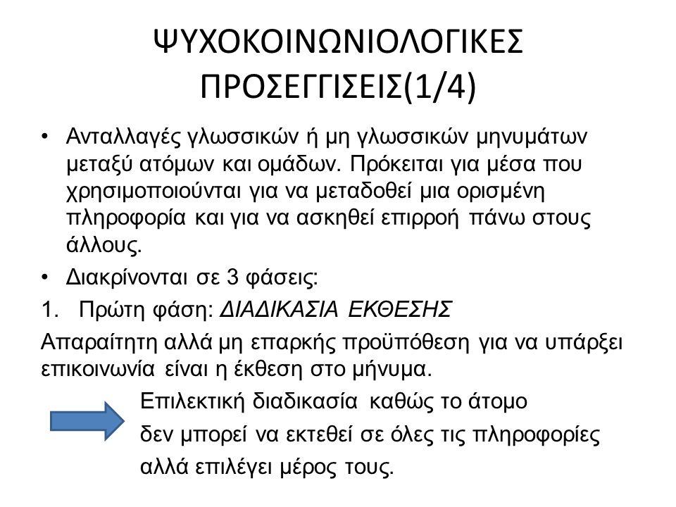 ΨΥΧΟΚΟΙΝΩΝΙΟΛΟΓΙΚΕΣ ΠΡΟΣΕΓΓΙΣΕΙΣ(1/4) Ανταλλαγές γλωσσικών ή μη γλωσσικών μηνυμάτων μεταξύ ατόμων και ομάδων.