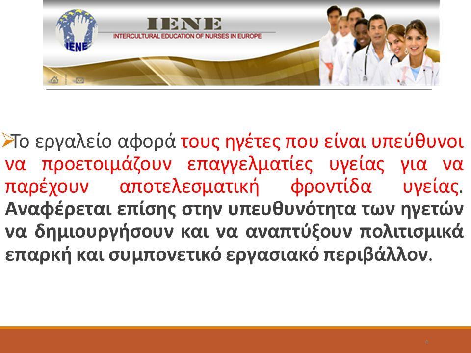  Το εργαλείο αφορά τους ηγέτες που είναι υπεύθυνοι να προετοιμάζουν επαγγελματίες υγείας για να παρέχουν αποτελεσματική φροντίδα υγείας.