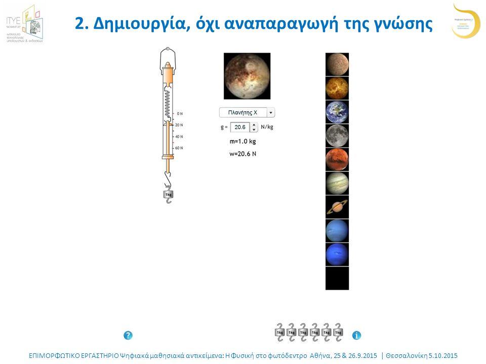 ΕΠΙΜΟΡΦΩΤΙΚΟ ΕΡΓΑΣΤΗΡΙΟ Ψηφιακά μαθησιακά αντικείμενα: Η Φυσική στο φωτόδεντρο Αθήνα, 25 & 26.9.2015 | Θεσσαλονίκη 5.10.2015 2.