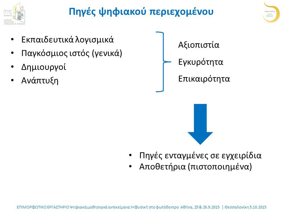 ΕΠΙΜΟΡΦΩΤΙΚΟ ΕΡΓΑΣΤΗΡΙΟ Ψηφιακά μαθησιακά αντικείμενα: Η Φυσική στο φωτόδεντρο Αθήνα, 25 & 26.9.2015 | Θεσσαλονίκη 5.10.2015 Πηγές ψηφιακού περιεχομένου Εκπαιδευτικά λογισμικά Παγκόσμιος ιστός (γενικά) Δημιουργοί Ανάπτυξη Αξιοπιστία Εγκυρότητα Επικαιρότητα Πηγές ενταγμένες σε εγχειρίδια Αποθετήρια (πιστοποιημένα)