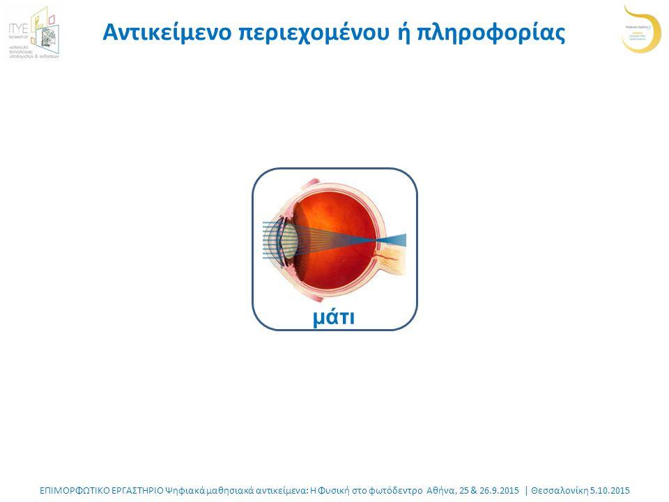 ΕΠΙΜΟΡΦΩΤΙΚΟ ΕΡΓΑΣΤΗΡΙΟ Ψηφιακά μαθησιακά αντικείμενα: Η Φυσική στο φωτόδεντρο Αθήνα, 25 & 26.9.2015 | Θεσσαλονίκη 5.10.2015 Αντικείμενο περιεχομένου ή πληροφορίας μάτι