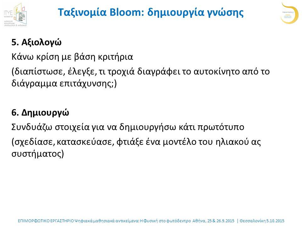 ΕΠΙΜΟΡΦΩΤΙΚΟ ΕΡΓΑΣΤΗΡΙΟ Ψηφιακά μαθησιακά αντικείμενα: Η Φυσική στο φωτόδεντρο Αθήνα, 25 & 26.9.2015 | Θεσσαλονίκη 5.10.2015 Ταξινομία Bloom: δημιουργία γνώσης 5.