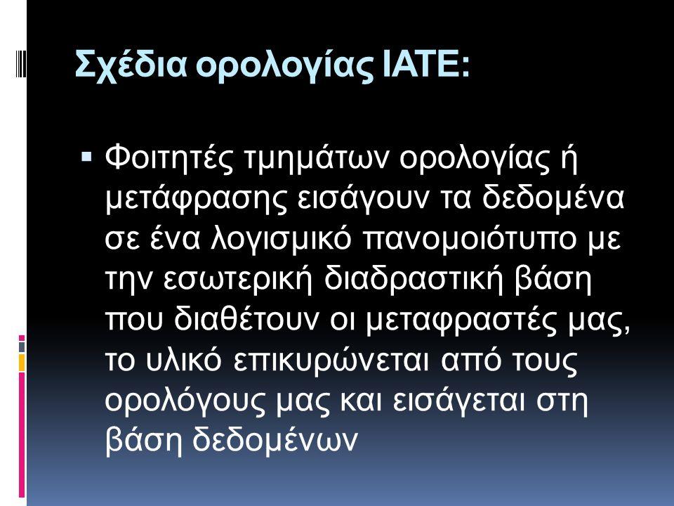 Σχέδια ορολογίας ΙATΕ:  Φοιτητές τμημάτων ορολογίας ή μετάφρασης εισάγουν τα δεδομένα σε ένα λογισμικό πανομοιότυπο με την εσωτερική διαδραστική βάση που διαθέτουν οι μεταφραστές μας, το υλικό επικυρώνεται από τους ορολόγους μας και εισάγεται στη βάση δεδομένων