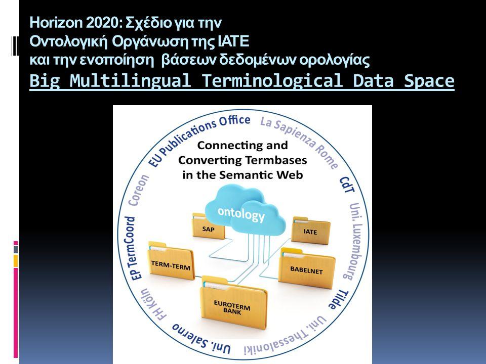 Horizon 2020: Σχέδιο για την Οντολογική Οργάνωση της ΙΑΤΕ και την ενοποίηση βάσεων δεδομένων ορολογίας Big Multilingual Terminological Data Space