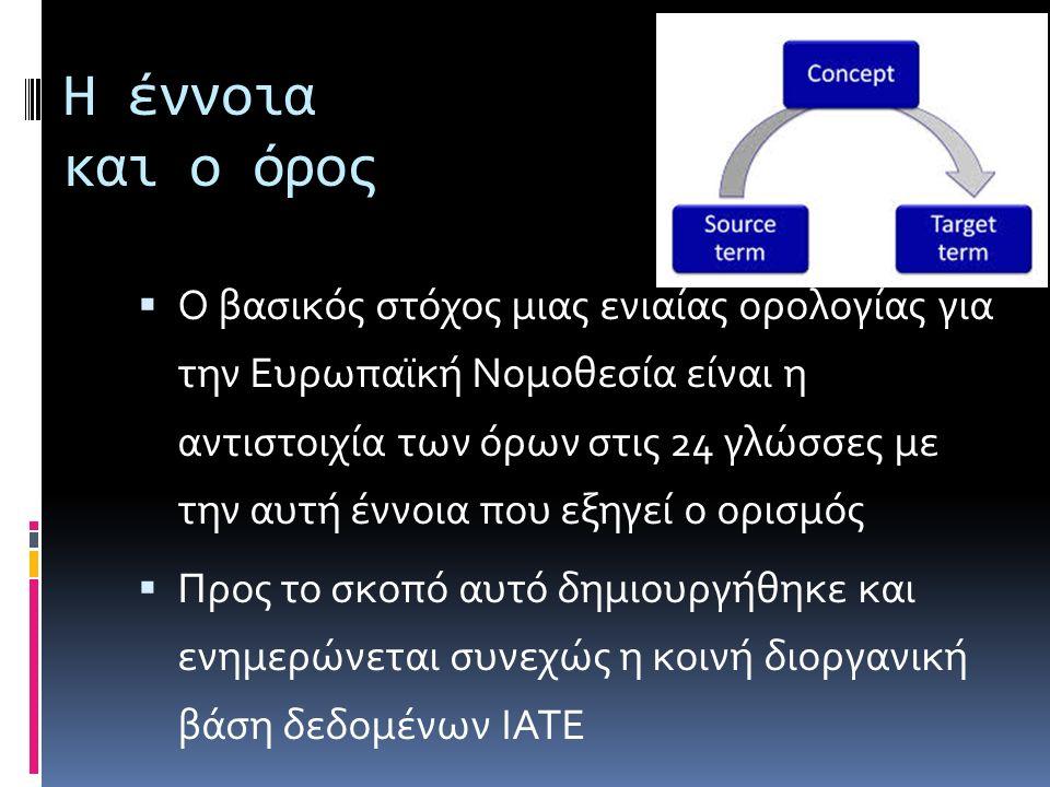 Η έννοια και ο όρος  Ο βασικός στόχος μιας ενιαίας ορολογίας για την Ευρωπαϊκή Νομοθεσία είναι η αντιστοιχία των όρων στις 24 γλώσσες με την αυτή έννοια που εξηγεί ο ορισμός  Προς το σκοπό αυτό δημιουργήθηκε και ενημερώνεται συνεχώς η κοινή διοργανική βάση δεδομένων ΙΑΤΕ