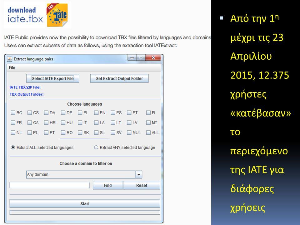 ΙΑΤΕ ΤΒΧ  Από την 1 η μέχρι τις 23 Απριλίου 2015, 12.375 χρήστες «κατέβασαν» το περιεχόμενο της ΙΑΤΕ για διάφορες χρήσεις