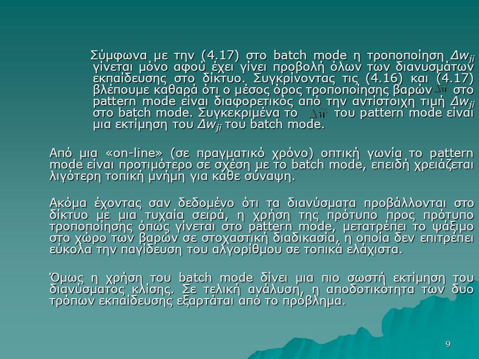 9 Σύμφωνα με την (4.17) στο batch mode η τροποποίηση Δw ji γίνεται μόνο αφού έχει γίνει προβολή όλων των διανυσμάτων εκπαίδευσης στο δίκτυο.
