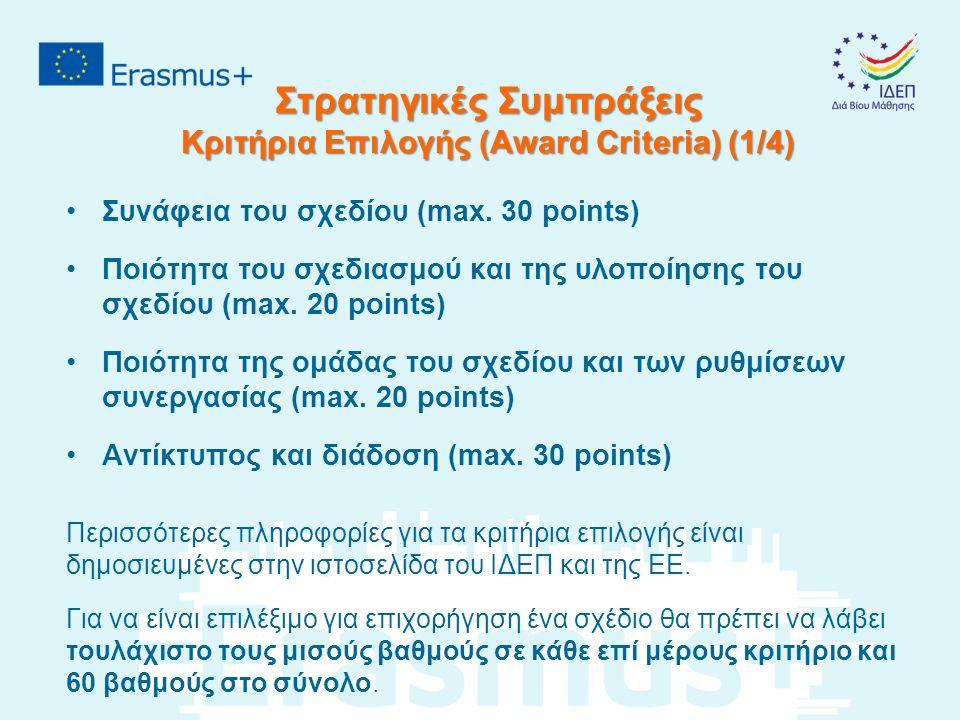 Στρατηγικές Συμπράξεις Κριτήρια Επιλογής (Award Criteria) (1/4) Συνάφεια του σχεδίου (max.
