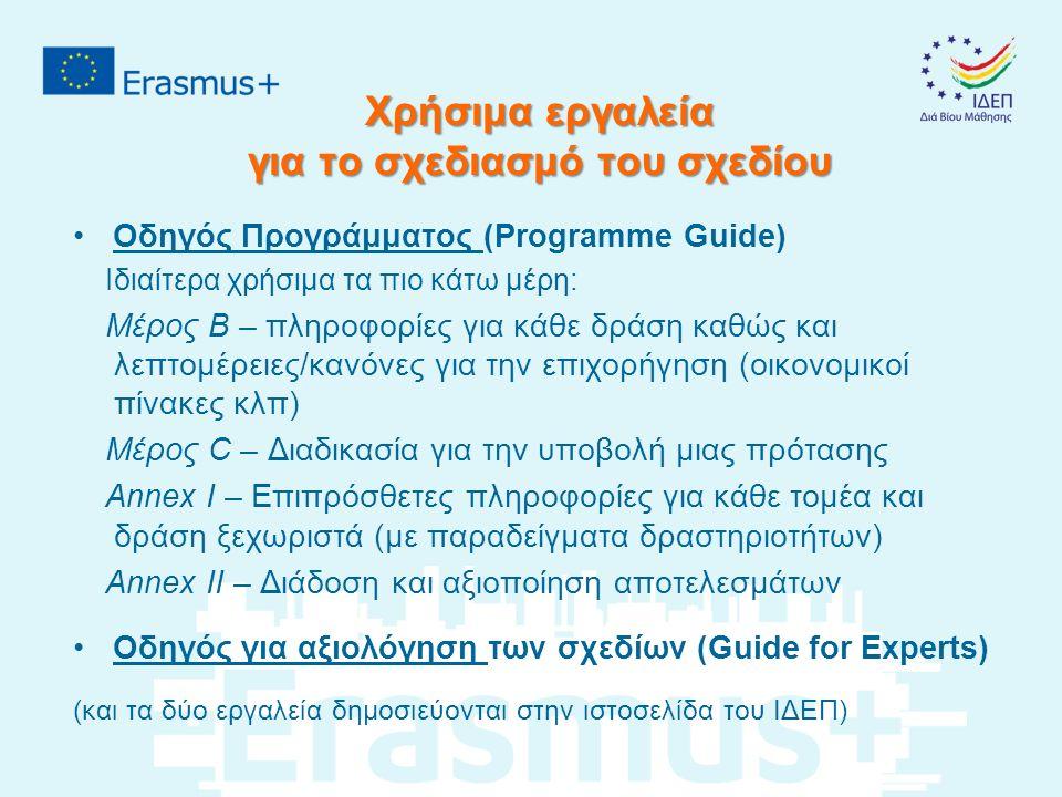 Χρήσιμα εργαλεία για το σχεδιασμό του σχεδίου Οδηγός Προγράμματος (Programme Guide) Ιδιαίτερα χρήσιμα τα πιο κάτω μέρη: Μέρος Β – πληροφορίες για κάθε δράση καθώς και λεπτομέρειες/κανόνες για την επιχορήγηση (οικονομικοί πίνακες κλπ) Μέρος C – Διαδικασία για την υποβολή μιας πρότασης Annex I – Επιπρόσθετες πληροφορίες για κάθε τομέα και δράση ξεχωριστά (με παραδείγματα δραστηριοτήτων) Annex IΙ – Διάδοση και αξιοποίηση αποτελεσμάτων Οδηγός για αξιολόγηση των σχεδίων (Guide for Experts) (και τα δύο εργαλεία δημοσιεύονται στην ιστοσελίδα του ΙΔΕΠ)