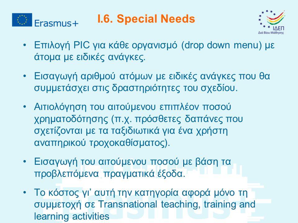 I.6.Special Needs Επιλογή PIC για κάθε οργανισμό (drop down menu) με άτομα με ειδικές ανάγκες.