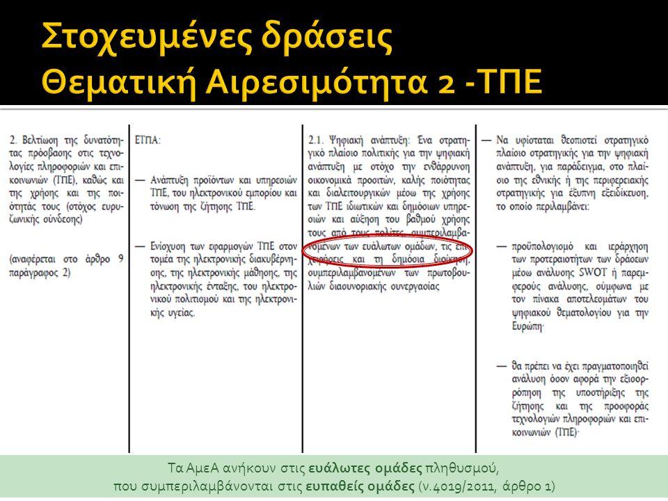 Τα ΑμεΑ ανήκουν στις ευάλωτες ομάδες πληθυσμού, που συμπεριλαμβάνονται στις ευπαθείς ομάδες (ν.4019/2011, άρθρο 1)