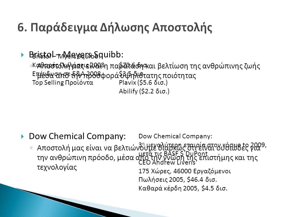  Bristol – Meyers Squibb: ◦ Αποστολή μας είναι η παράταση και βελτίωση της ανθρώπινης ζωής μέσα από την προσφορά υψηλότατης ποιότητας  Dow Chemical Company: ◦ Αποστολή μας είναι να βελτιώνουμε διαρκώς ότι είναι ουσιώδες για την ανθρώπινη πρόοδο, μέσα από την γνώση της επιστήμης και της τεχνολογίας Bristol – Myers Squibb: Καθαρές Πωλήσεις 2008$20.6 δισ.