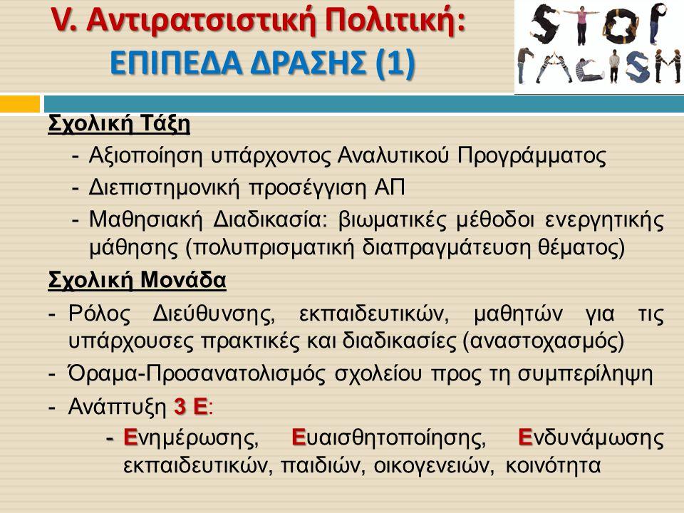 V. Αντιρατσιστική Πολιτική : ΕΠΙΠΕΔΑ ΔΡΑΣΗΣ (1) Σχολική Τάξη -Αξιοποίηση υπάρχοντος Αναλυτικού Προγράμματος -Διεπιστημονική προσέγγιση ΑΠ -Μαθησιακή Δ