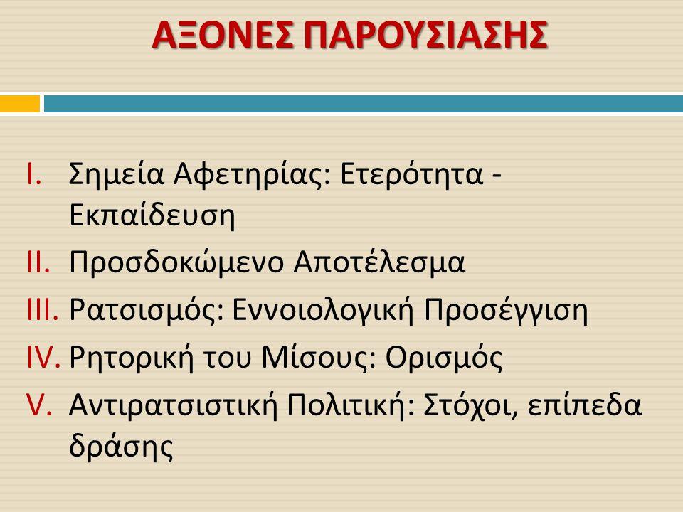 ΑΞΟΝΕΣ ΠΑΡΟΥΣΙΑΣΗΣ I.Σημεία Αφετηρίας : Ετερότητα - Εκπαίδευση II.Προσδοκώμενο Αποτέλεσμα III.Ρατσισμός : Εννοιολογική Προσέγγιση IV.Ρητορική του Μίσους : Ορισμός V.Αντιρατσιστική Πολιτική : Στόχοι, επίπεδα δράσης