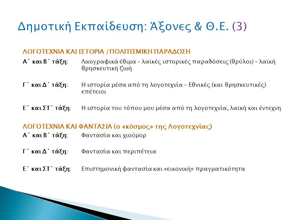 ΛΟΓΟΤΕΧΝΙΑ ΚΑΙ ΙΣΤΟΡΙΑ /ΠΟΛΙΤΙΣΜΙΚΗ ΠΑΡΑΔΟΣΗ Α΄ και Β΄ τάξη: Λαογραφικά έθιμα – λαϊκές ιστορικές παραδόσεις (θρύλοι) – λαϊκή θρησκευτική ζωή Γ΄ και Δ΄ τάξη: Η ιστορία μέσα από τη λογοτεχνία – Εθνικές (και θρησκευτικές) επέτειοι Ε΄ και ΣΤ΄ τάξη: Η ιστορία του τόπου μου μέσα από τη λογοτεχνία, λαϊκή και έντεχνη ΛΟΓΟΤΕΧΝΙΑ ΚΑΙ ΦΑΝΤΑΣΙΑ (ο «κόσμος» της Λογοτεχνίας) Α΄ και Β΄ τάξη: Φαντασία και χιούμορ Γ΄ και Δ΄ τάξη: Φαντασία και περιπέτεια Ε΄ και ΣΤ΄ τάξη: Επιστημονική φαντασία και «εικονική» πραγματικότητα