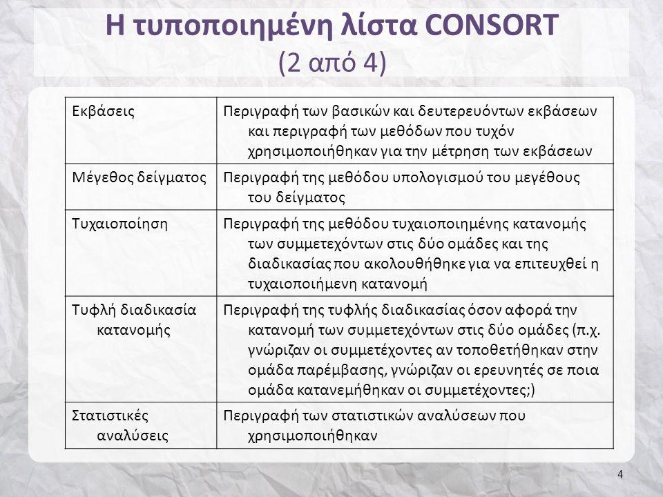 Η τυποποιημένη λίστα CONSORT (2 από 4) 4 ΕκβάσειςΠεριγραφή των βασικών και δευτερευόντων εκβάσεων και περιγραφή των μεθόδων που τυχόν χρησιμοποιήθηκαν για την μέτρηση των εκβάσεων Μέγεθος δείγματοςΠεριγραφή της μεθόδου υπολογισμού του μεγέθους του δείγματος ΤυχαιοποίησηΠεριγραφή της μεθόδου τυχαιοποιημένης κατανομής των συμμετεχόντων στις δύο ομάδες και της διαδικασίας που ακολουθήθηκε για να επιτευχθεί η τυχαιοποιήμενη κατανομή Τυφλή διαδικασία κατανομής Περιγραφή της τυφλής διαδικασίας όσον αφορά την κατανομή των συμμετεχόντων στις δύο ομάδες (π.χ.